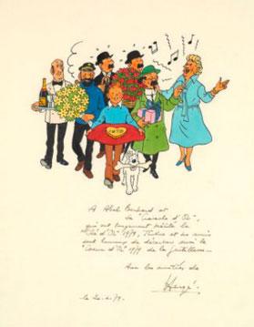 Dibujo con la firma de Hergé