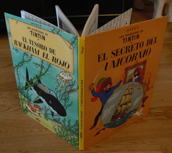 Portada, lomo y contraportada del libro. Imagen sacada de http://catalogotintin.jimdo.com/ediciones-curiosas/