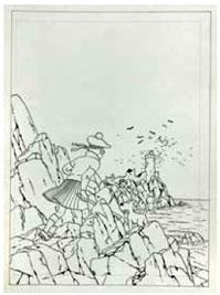 Dibujo a tinta de la portada de La isla negra