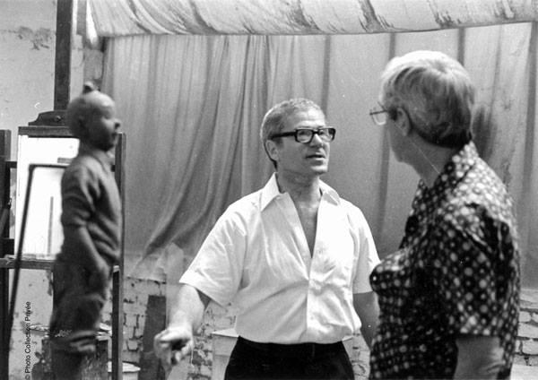 Nat Neujean y Hergé en 1975. ©Moulinsart