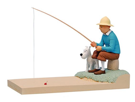 Tintín y Milú pescando