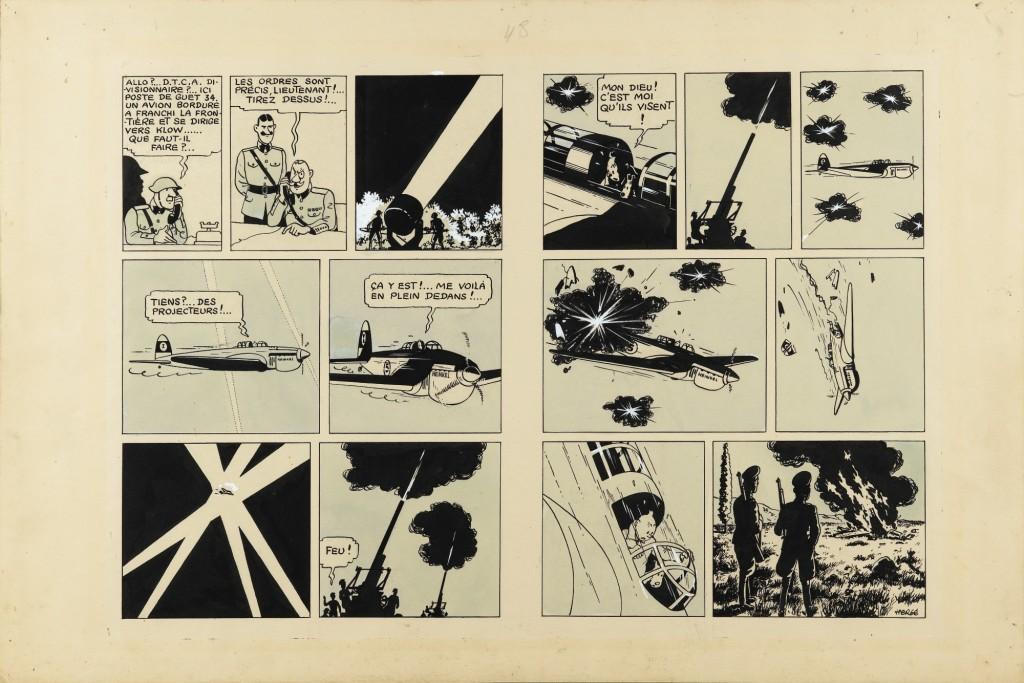Plancha subastada en Sotheby's. @Hergé/Moulinsart