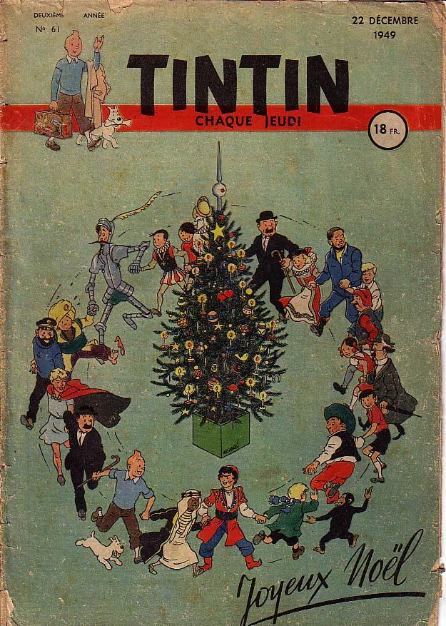 Portada de la revista Tintín del 22 de diciembre de 1949. @ Hergé / Moulinsart
