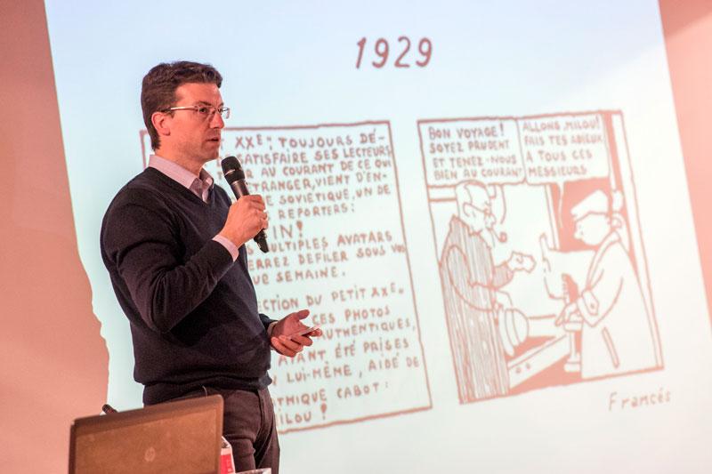 Yo, empezando la charla. Foto: © Jesús Caso