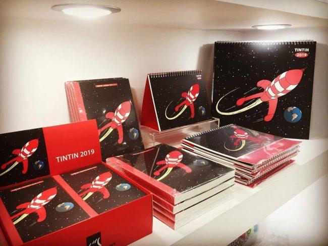 Foto de las agendas de la TintinShop de Barcelona