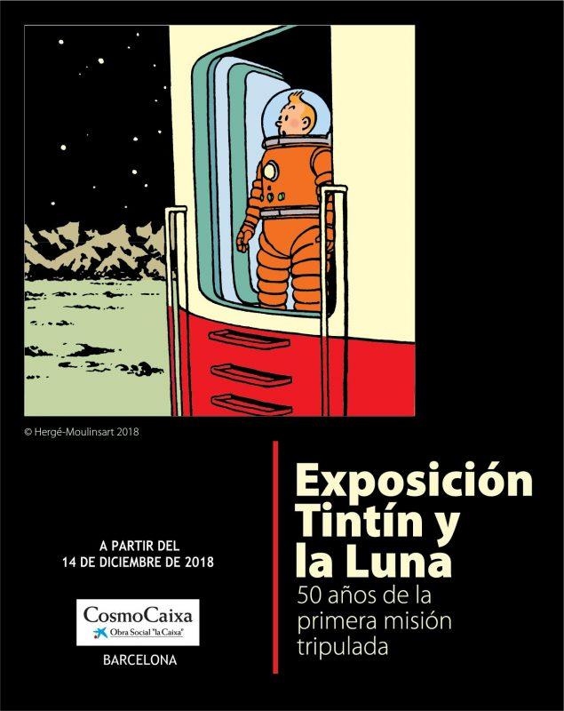 Cartel de la exposición Tintín y la Luna